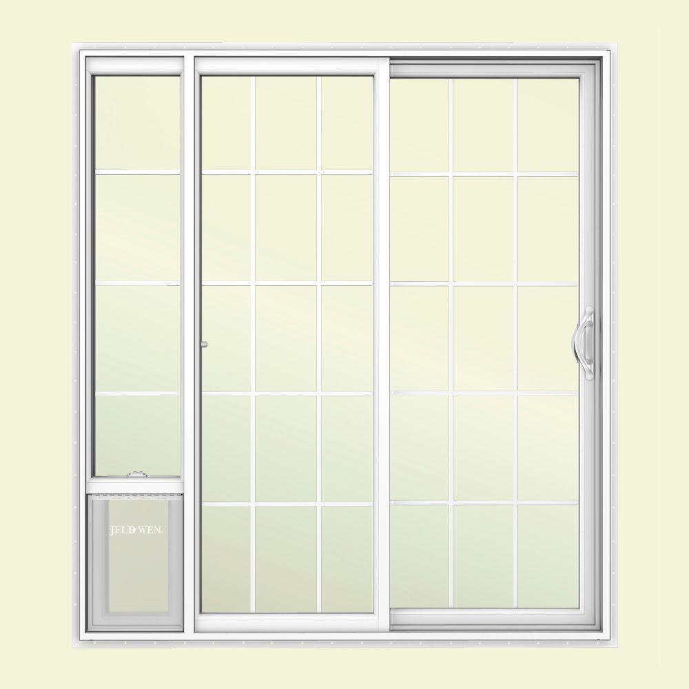 JELD-WEN 72 in. x 80 in. White Right Hand Vinyl Patio Door with Low-E Argon Glass, Grids and Large Pet Door