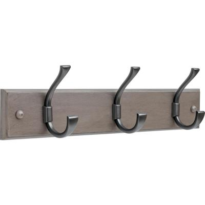 Ruavista 18 in. Gray and Soft Iron Hook Rack