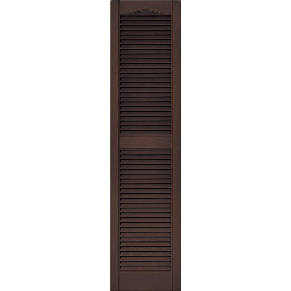 Builders Edge 15 In X 60 In Louvered Vinyl Exterior Shutters Pair In 009 Federal Brown