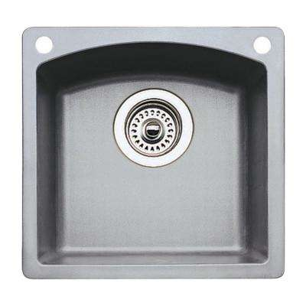 Diamond Dual-Mount Granite 15 in. 2-Hole Single Bowl Kitchen Sink in Metallic Gray