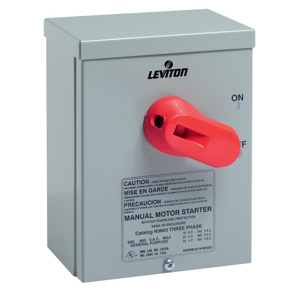 Leviton 60 Amp 600-Volt Industrial Grade Toggle In Type 3R Enclosure ...