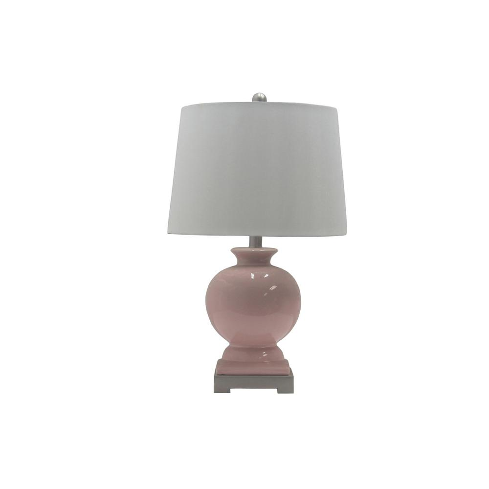 Fangio Lighting 24 in. Smooth Blush Ceramic Table Lamp with Brushed Steel Pedestal Base