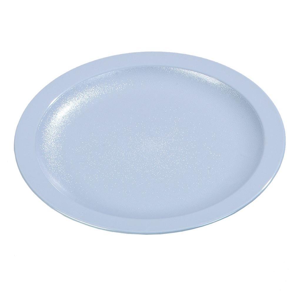 9.0 in. Diameter Polycarbonate Narrow Rim Commercial Dinnerware Plate in Slate Blue (Case of 48)