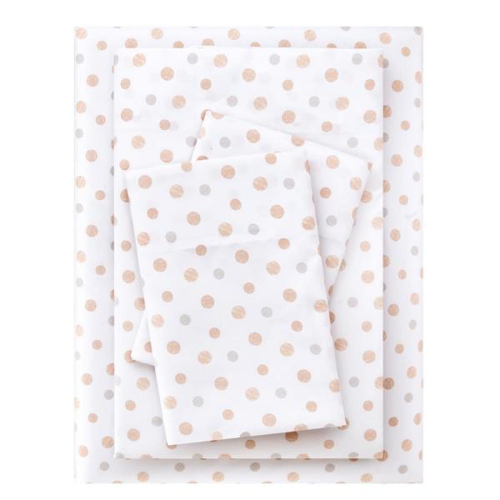 Brushed Soft Microfiber 4-Piece King Sheet Set in Dots