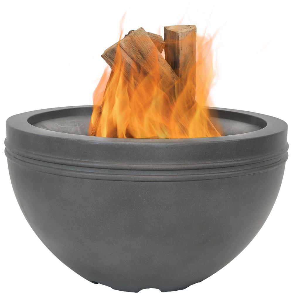 Sunnydaze Decor 29 in. x 17.5 in. Round Steel Outdoor Wood Fire Bowl in Gray with Steel Lid Cover