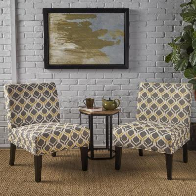Kassi Yellow and Gray Geometric-Patterned Fabric Accent Chairs (Set of 2)