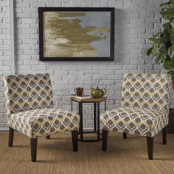 Set Of 2 Living Room Accent Chairs.Noble House Kassi Yellow And Gray Geometric Patterned Fabric Accent