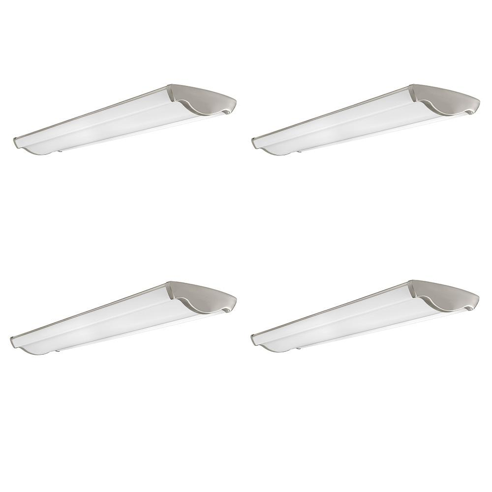 Hampton Bay 48 in. Vintage Industrial Brushed Nickel Selectable LED Flush Mount Ceiling Light 3600 Lumens 3000K 4000K 5000K (4-Pack) Hampton Bay's 4 ft. LED  Wave  Wraparound Vintage Inspired Brushed Nickel Flush Mount Ceiling light is perfect to add a bit of flair to your home, office or retail store all while providing high quality LED technology. This flush mount emits powerful 3600 Lumens of brightness while reducing energy consumption by as much as 75% compared to conventional lighting units. Lasting over 10 times longer, this replaces outdated 64-Watt fluorescent bulbs conserving electricity, the environment and your wallet. The lightweight construction makes for easy installation while the LED technology ensures eco-friendly, long-lasting service and maintenance free with no bulbs to replace. Ideal applications: kitchen, bathroom, laundry room, basement, office, entertainment area, boutique or other retail store.