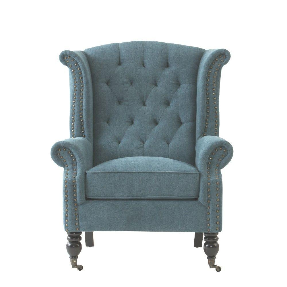 Wooden Arm Chairs In Teal ~ Home decorators collection milo chenille teal polyester