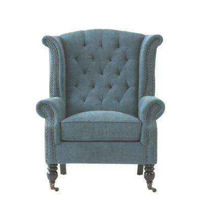 Milo Chenille Teal Polyester Arm Chair