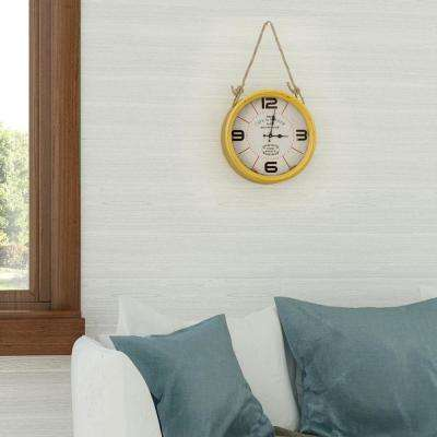 Caf de la Tour Distressed Yellow Roped Wall Clock