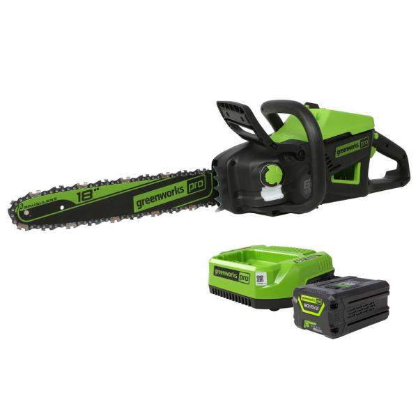 PRO 18 in. 60-Volt Electric Cordless Chainsaw, 4.0 Ah with Battery and Charger Included