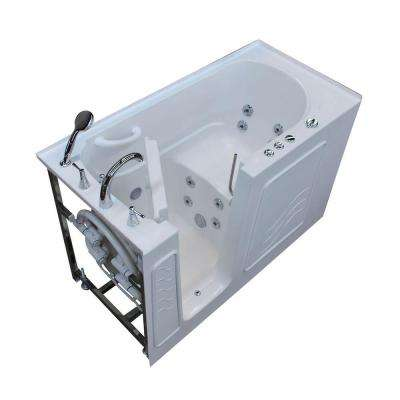 HD Series 60 in. Left Drain Quick Fill Walk-In Whirlpool Bath Tub with Powered Fast Drain in White