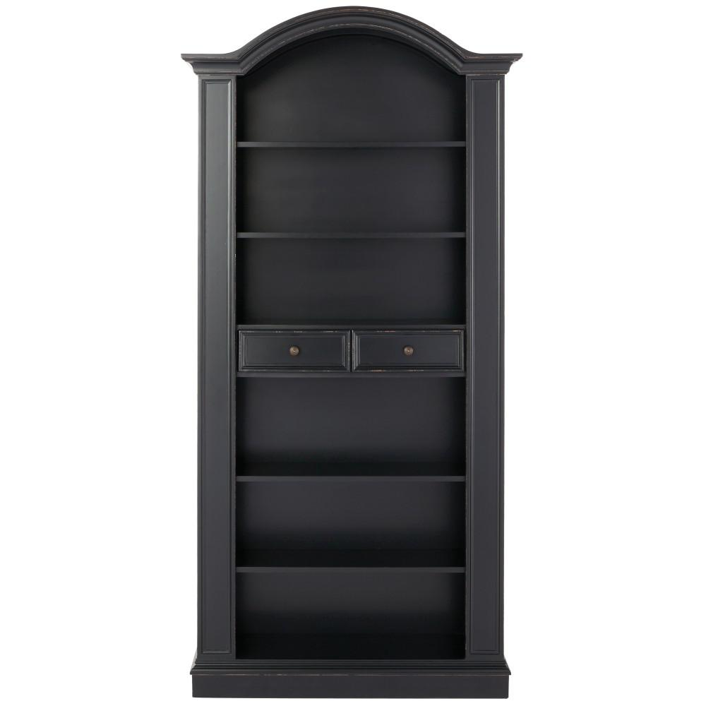 Christina Antique Black Storage Open Bookcase