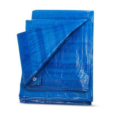 10 ft. x 10 ft. Blue Super Heavy Duty Waterproof Poly Tarp