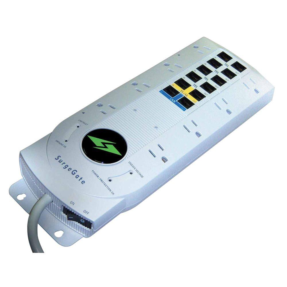 SurgeGate 8 Outlet AC Surge Protector with Telephone and LAN