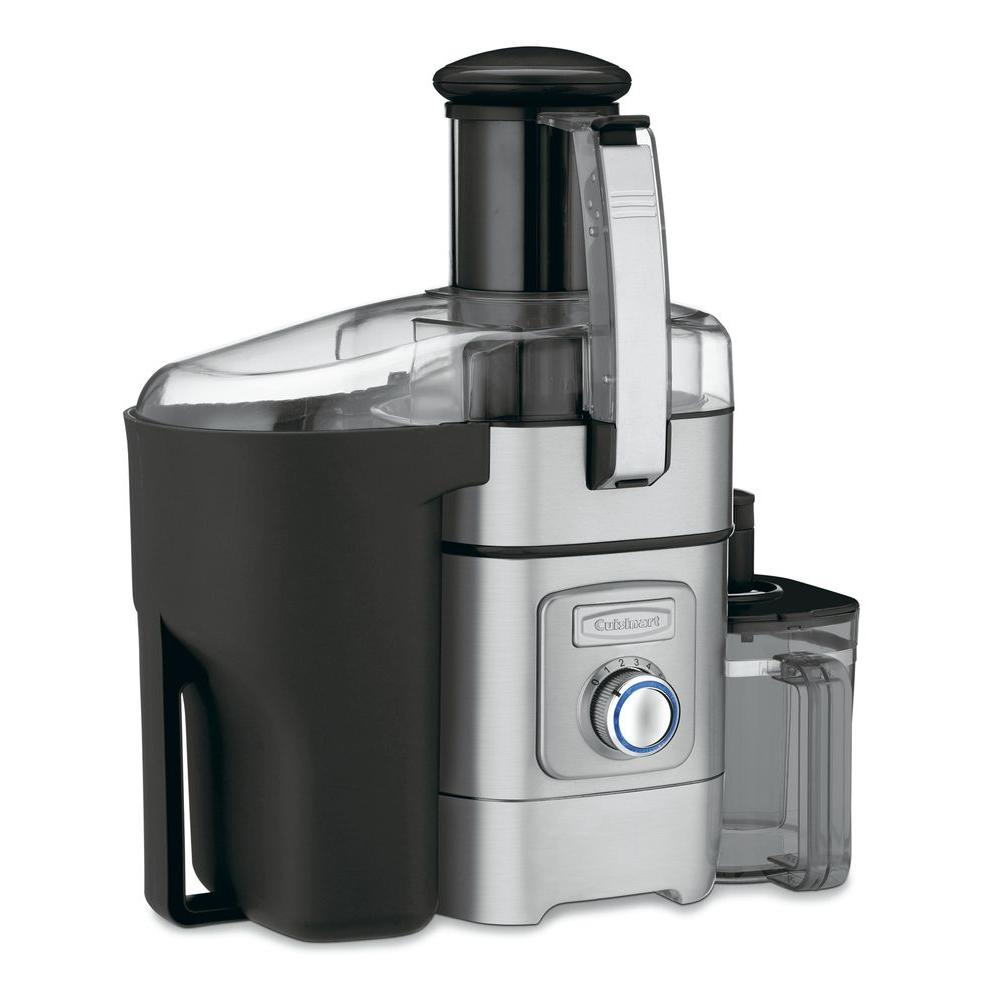 33 oz. Juice Extractor, Silver It's never been easier to create fresh, nutritious fruit and vegetables juices at home. The Cuisinart Juice Extractor features a 3 in. feed tube that easily handles whole fruits and vegetables. The adjustable flow spout eliminates drips and spills for clean countertops, and the 5-speed control dial is easy to operate. The specially designed filter basket reduces foam, and the units is so quiet, you won't wake the family while you're making juice for breakfast. Color: Stainless Steel.