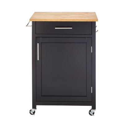 Glenville Black Kitchen Cart with 1 Drawer