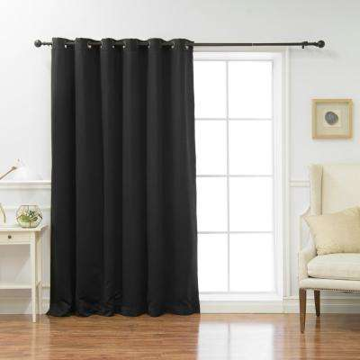 Wide Basic 80 in. W x 84 in. L  Blackout Curtain in Black