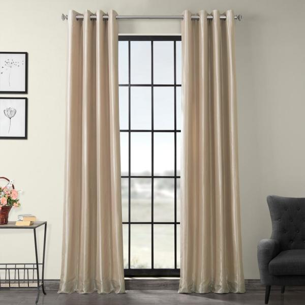 Antique Beige Blackout Faux Silk Taffeta Grommet Curtain - 50 in. W x 84 in. L