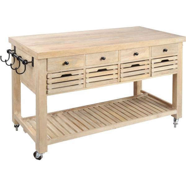 Whitewashed Wooden Columbia Kitchen Island with Wheels