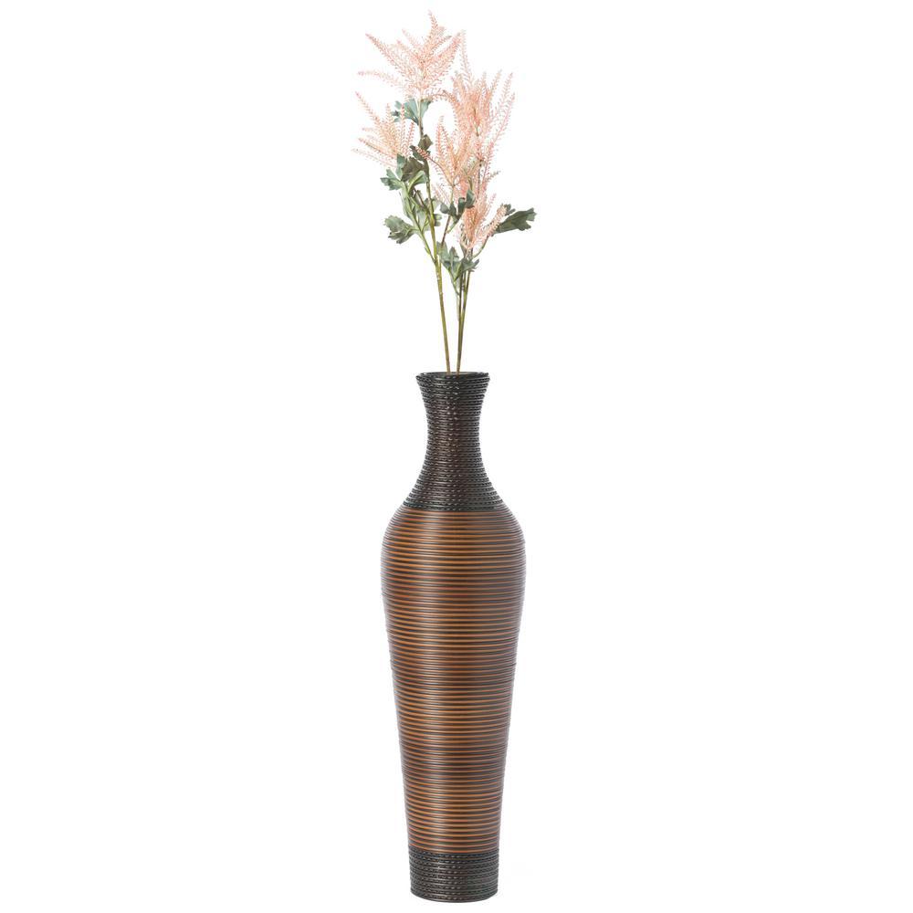 39 in. Tall Dark Brown Decorative Artificial Rattan Standing Floor Vase