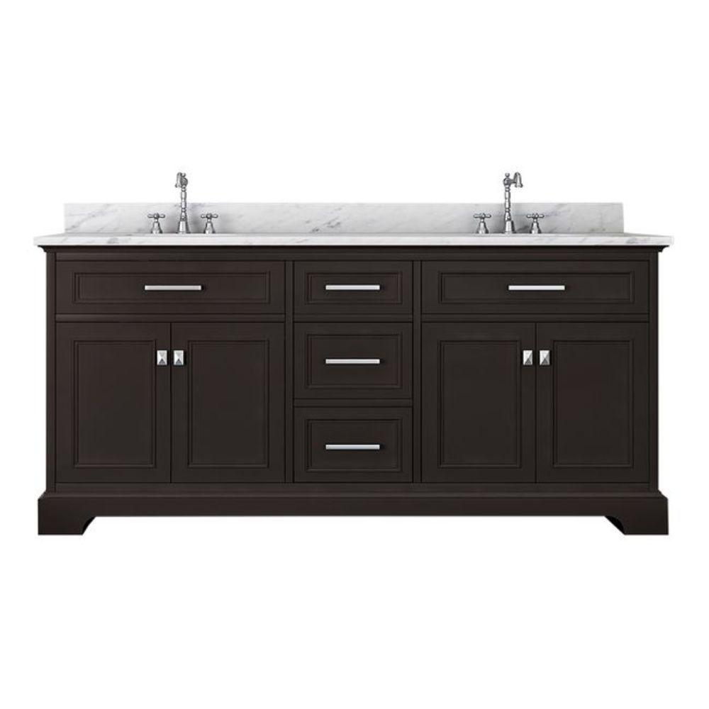 Alya Bath Yorkshire 73 in. W x 22 in. D Double Bath Vanity in Espresso with Marble Vanity Top in White with White Basin