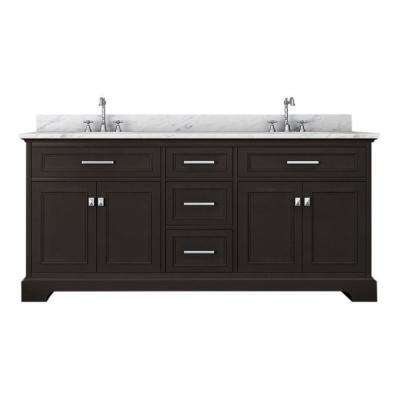 Yorkshire 73 in. W x 22 in. D Double Bath Vanity in Espresso with Marble Vanity Top in White with White Basin