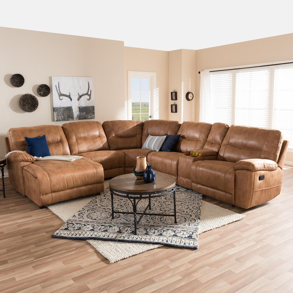 sectional faux microfiber tan p brown sofa couch leather dark tone twotone two image