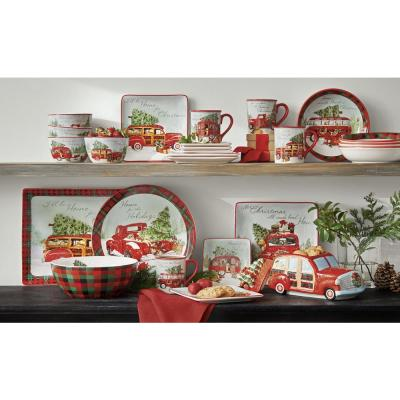 Home For Christmas Multicolor Canape Plate (Set of 4)