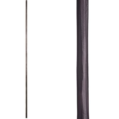 Tuscan Round Hammered 44 in. x 0.5625 in. Satin Black Single Twisted Knuckle Scroll Solid Wrought Iron Baluster