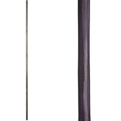 Tuscan Square Hammered 44 in. x 0.5625 in. Satin Black Single Twisted Knuckle Scroll Solid Wrought Iron Baluster