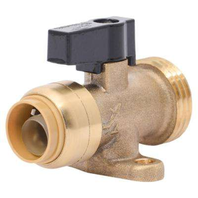 1/2 in. x 3/4 in. Push-to-Connect Brass Washing Machine Straight Valve