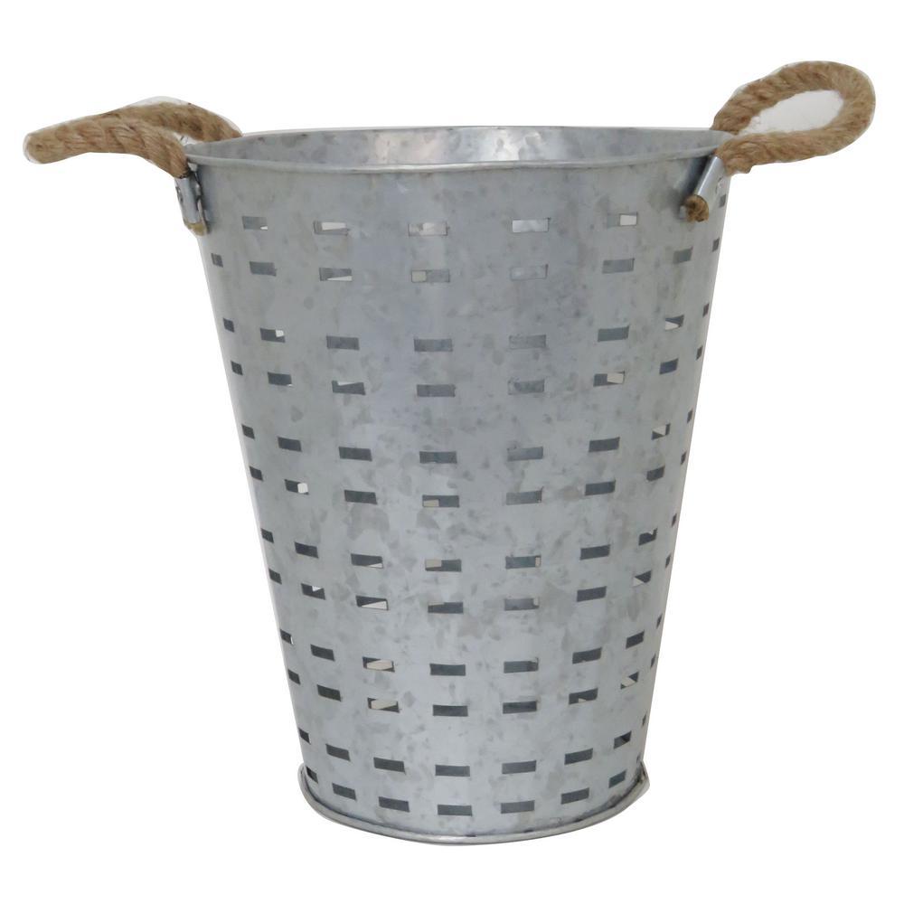 12 in. Galvanized Metal Outdoor Patio Basket