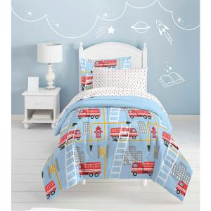 Fire Truck 5 Piece Blue Twin Bed In A Bag Set