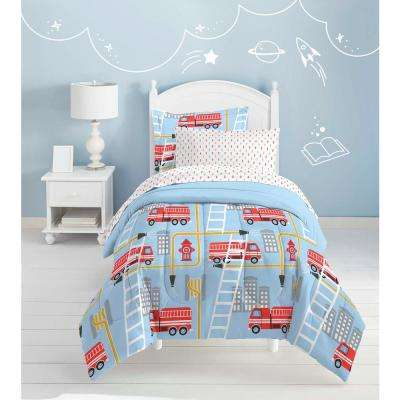 Fire Truck 5-Piece Blue Twin Bed in a Bag Set