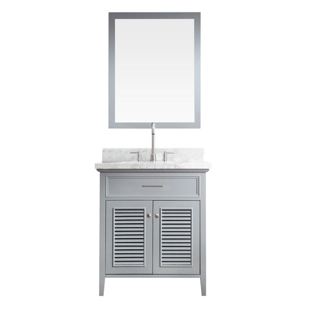 Ariel Kensington 31 in. Bath Vanity in Grey with Marble Vanity Top in Carrara White with White Basin and Mirror
