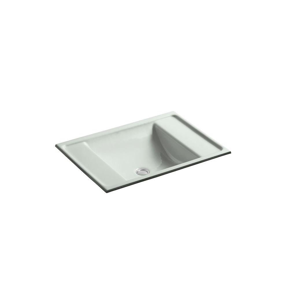 Ledges Undermount Cast Iron Bathroom Sink in Sea Salt with Overflow