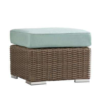 Camari Mocha Wicker Outdoor Ottoman with Blue Cushion