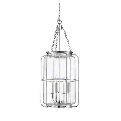 4-Light Polished Chrome Pendant with Clear Glass