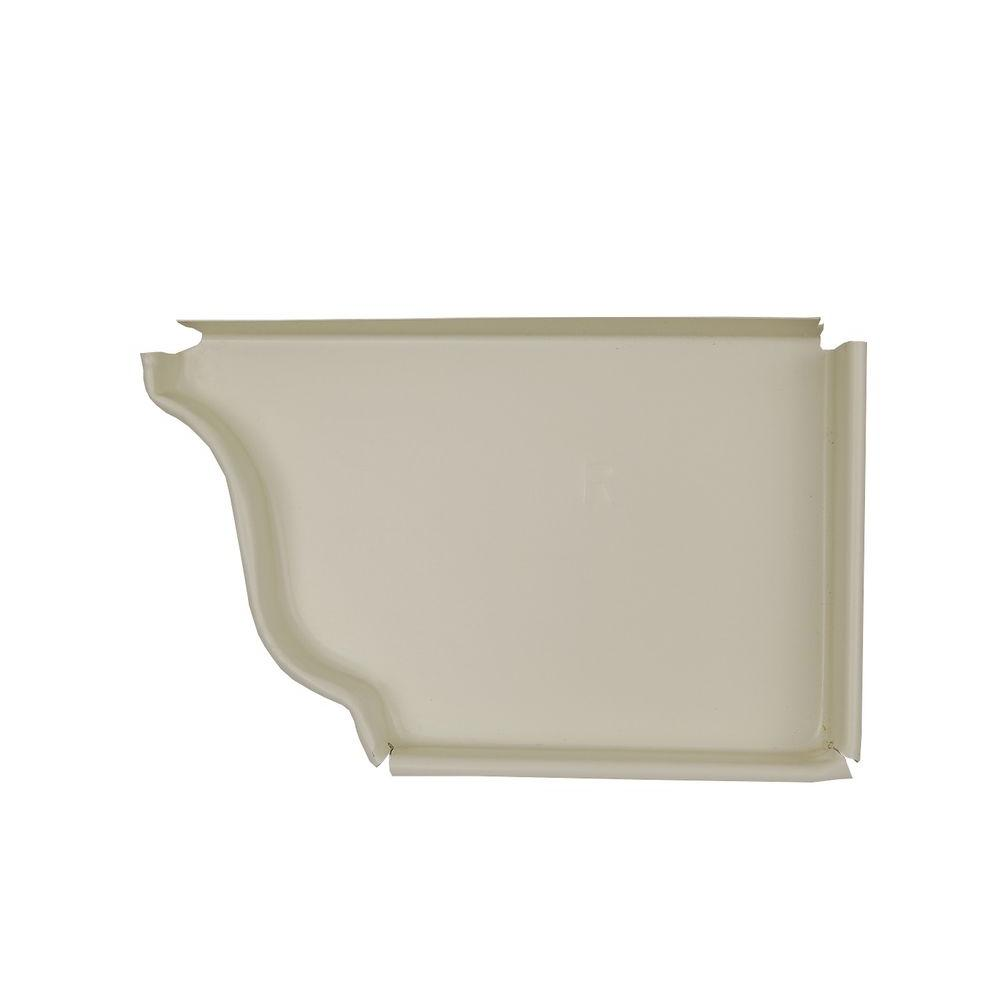 Amerimax Home Products 5 in. Bone Linen Aluminum Right End Cap