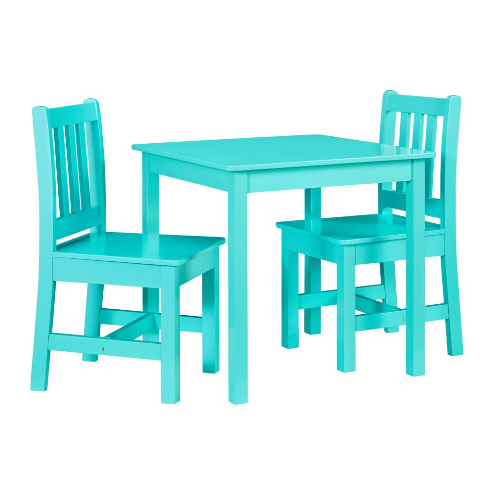 Linon Home Decor Keena Teal Kid Table And Two Chairs