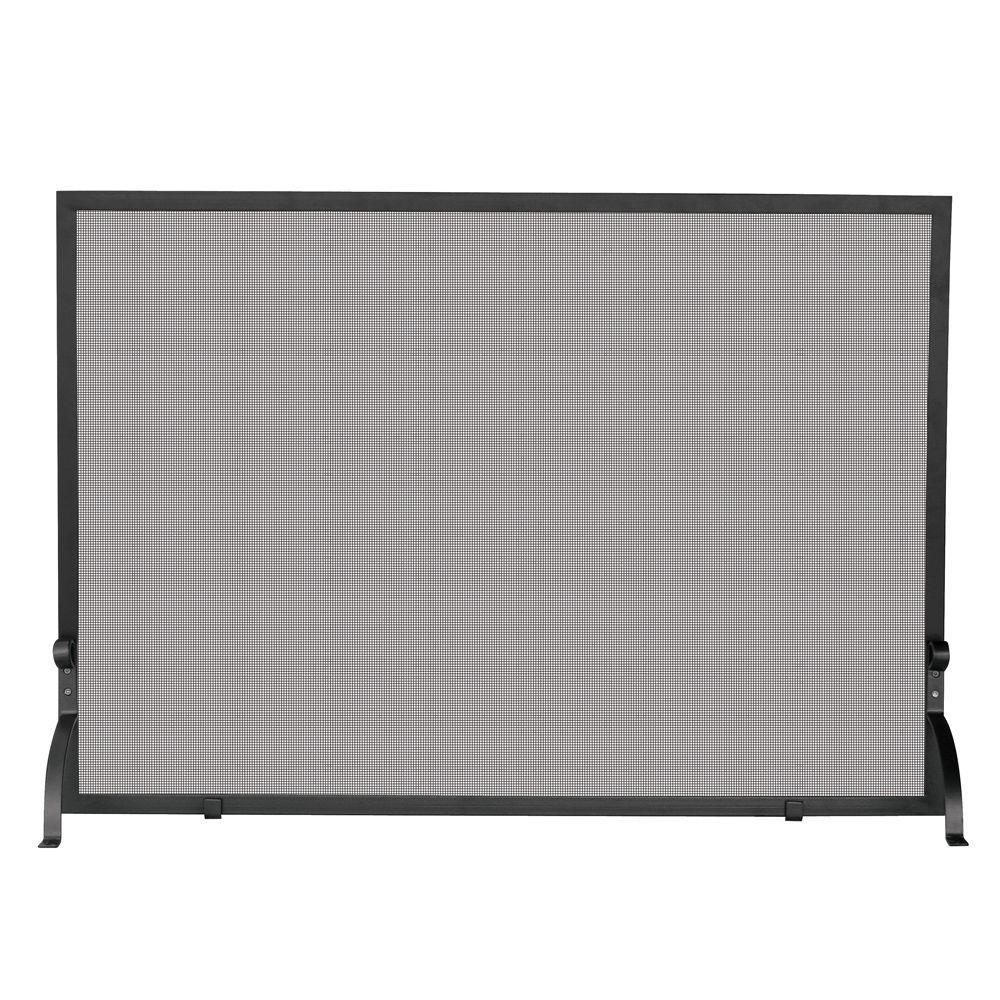 Olde World Iron Medium Single-Panel Fireplace Screen