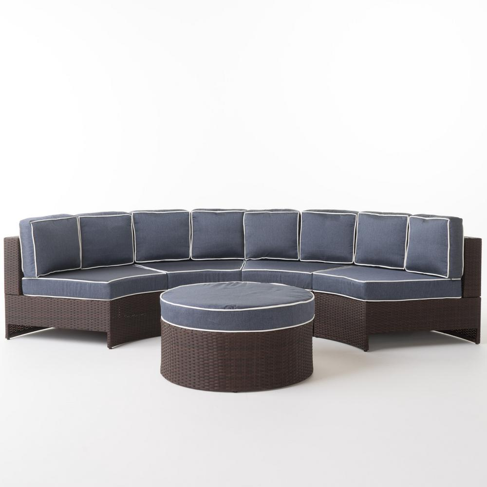Noble House Madras Saint Luca Brown 5-Piece Wicker Patio ... on 5 Piece Sectional Patio Set id=83238