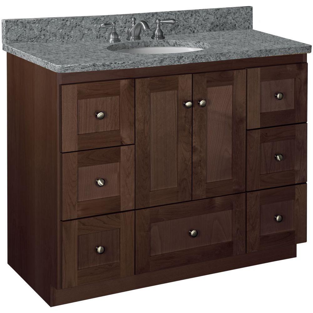 Shaker 42 in. W x 21 in. D x 34.5 in. H Vanity Cabinet Only in Dark Alder