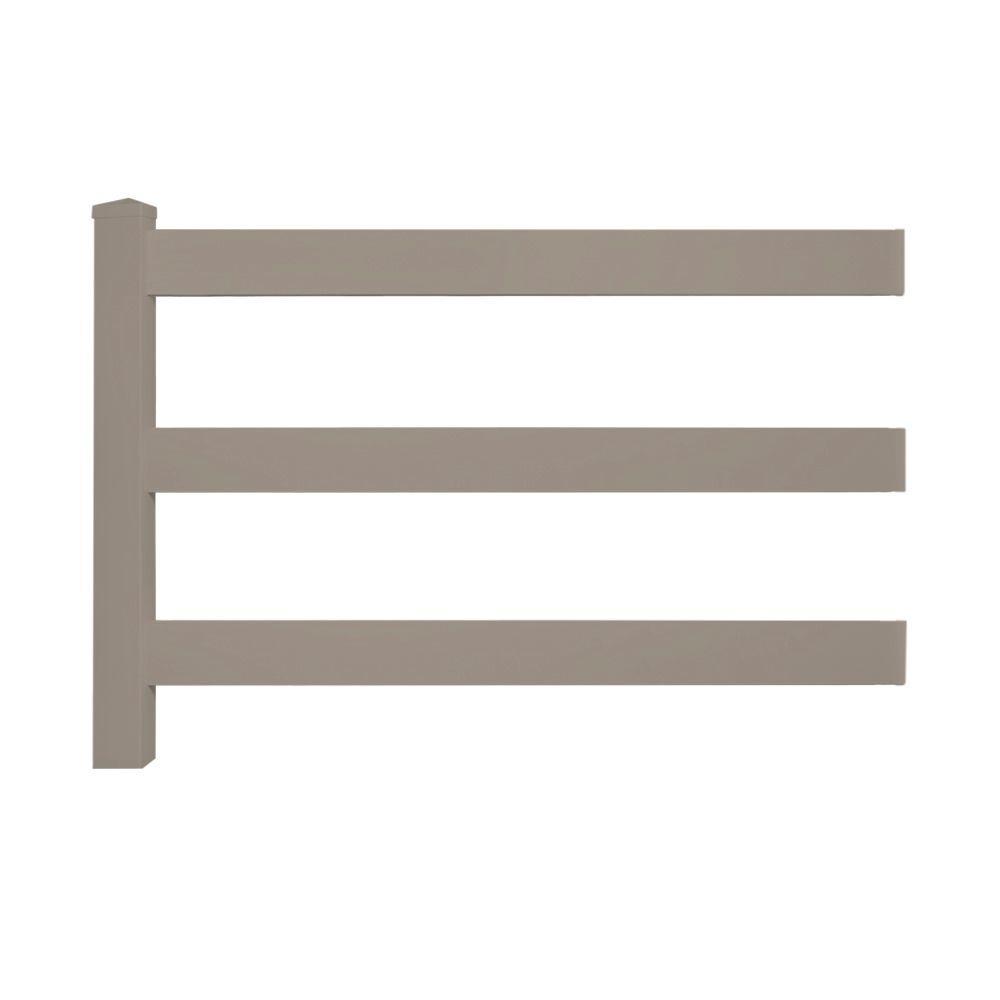 Weatherables 4 Ft H X 8 Ft W 3 Rail Khaki Vinyl Fence