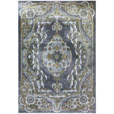 Silky Gold Collection Gold Kingdom 5 ft. x 8 ft. Anti-Bacterial Area Rug