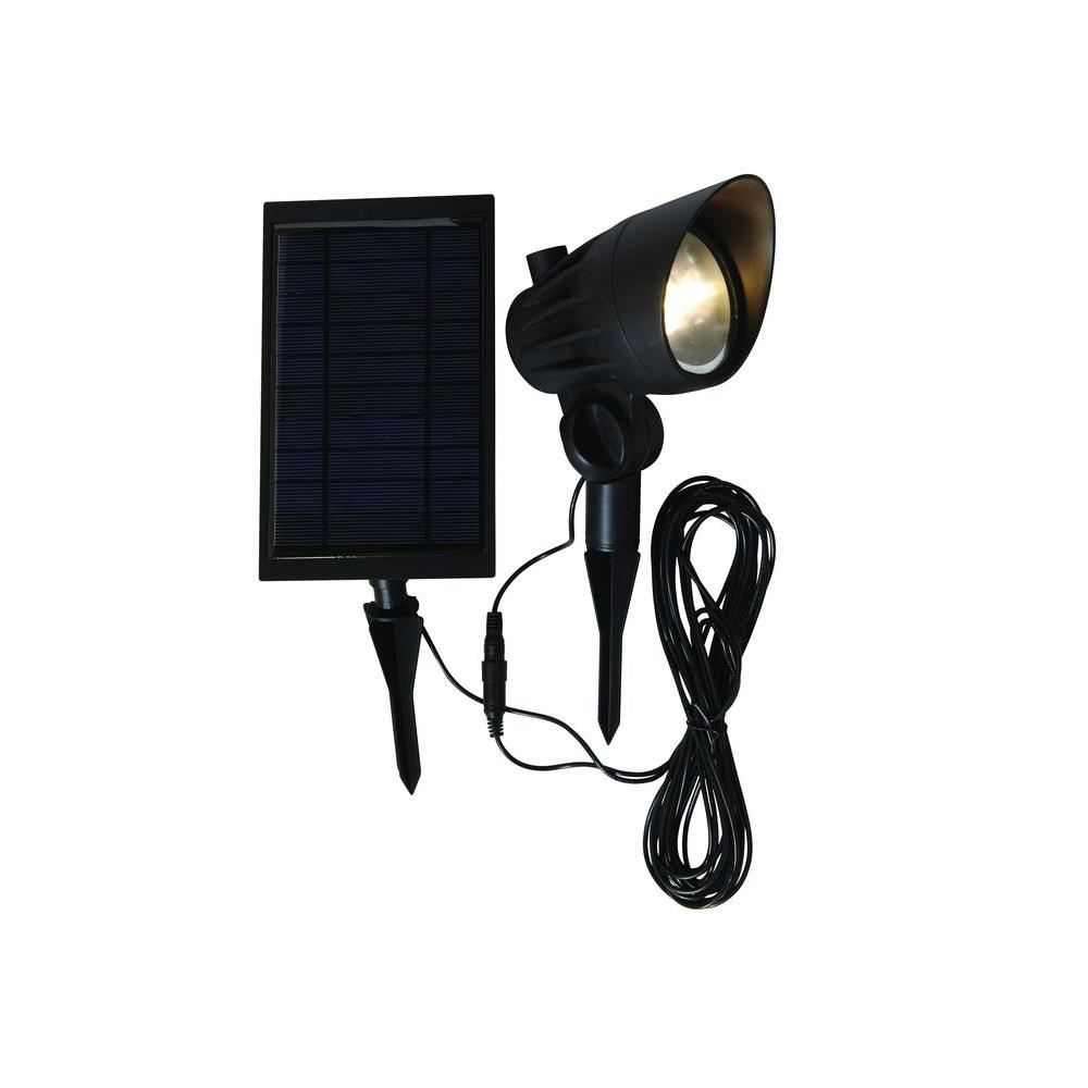 Hampton bay solar black outdoor integrated led 3000k 70 lumens hampton bay solar black outdoor integrated led 3000k 70 lumens landscape spot light with solar aloadofball Image collections