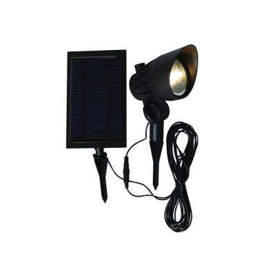 Solar Black Outdoor Integrated LED Landscape Spot Light with Solar Panel and Wire
