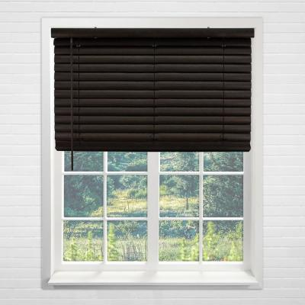 "Cordless Room Darkening 2 in. Vinyl Mini Blind, Perfect for Kitchen/Bedroom/Office & More- Dark Walnut-70""W X 64""L"